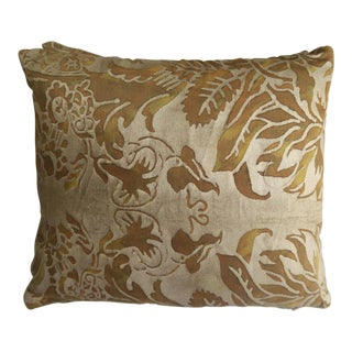 Pair of Avocado & Metallic Gold Fortuny Pillows