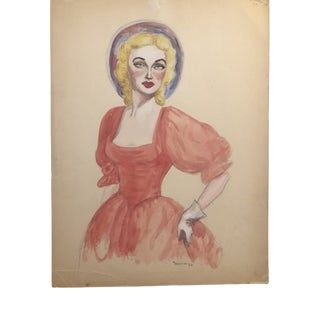 1952 Portrait of a Lady in a Dress For Sale