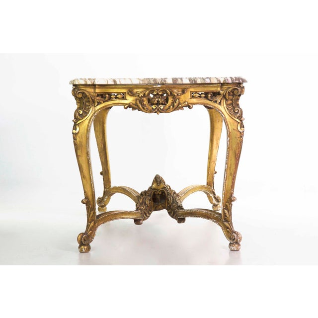 French 19th Century French Louis XV Style Giltwood Center Table circa 1870 For Sale - Image 3 of 11
