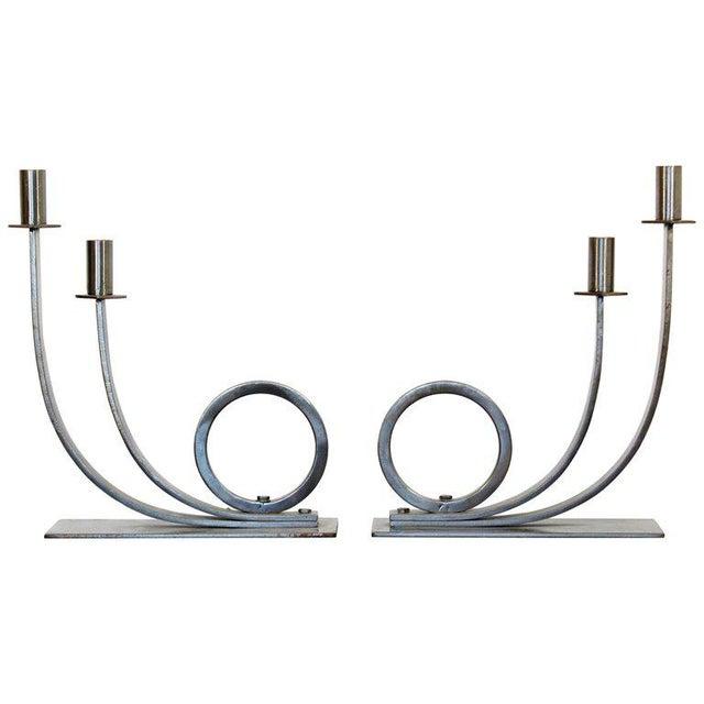 Mid-Century Modern Sculptural Aluminum Candleholders Studio Artist Haghiri - a Pair For Sale - Image 12 of 12