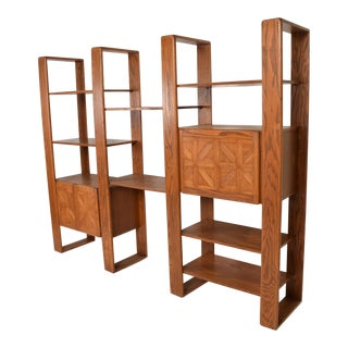 Mid Century Modern Solid Oak Wood Wall Unit by Lou Hodges For Sale