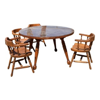Mid-Century Danish Walter of Wabash Double Leaf Round Table & Captains Chairs Set