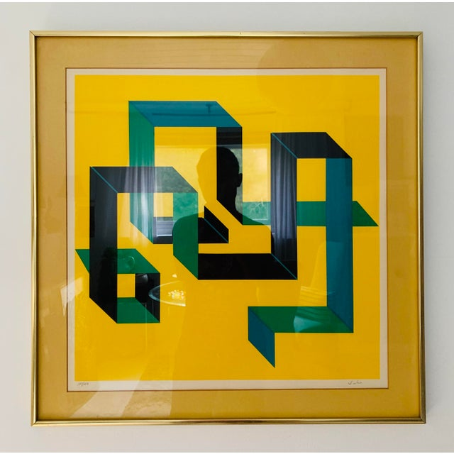 This is a limited edition abstract painting, circa 1980s in excellent condition.