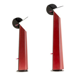 Pair of Red Gibigiana Lamps by Achille Castiglioni for Flos For Sale