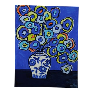 Blue Floral by Cleo Plowden For Sale