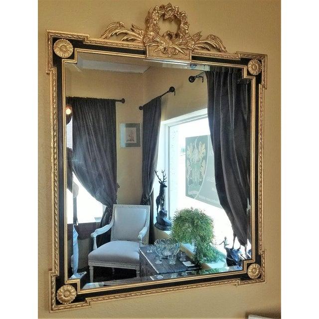 Louis XVI Style Giltwood & Ebony Beveled Glass Mirror For Sale - Image 4 of 8