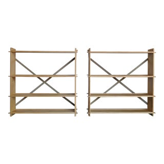 Late 20th Century Modernist Plywood Bookcases- A Pair For Sale