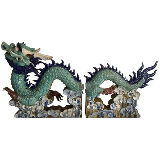 Chinese Ceramic Dragon 2 Pc. Sculpture For Sale