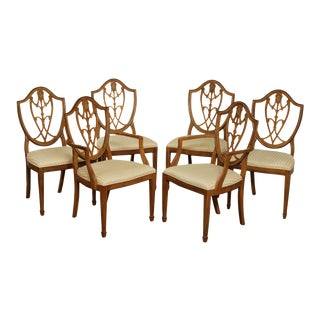 Drexel Devoncourt Hepplewhite Style Set 6 Shield Back Dining Chairs For Sale