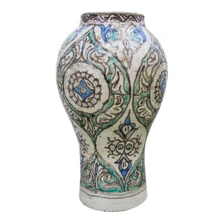 Andalusian-Patterned Fine Ceramic Vase For Sale