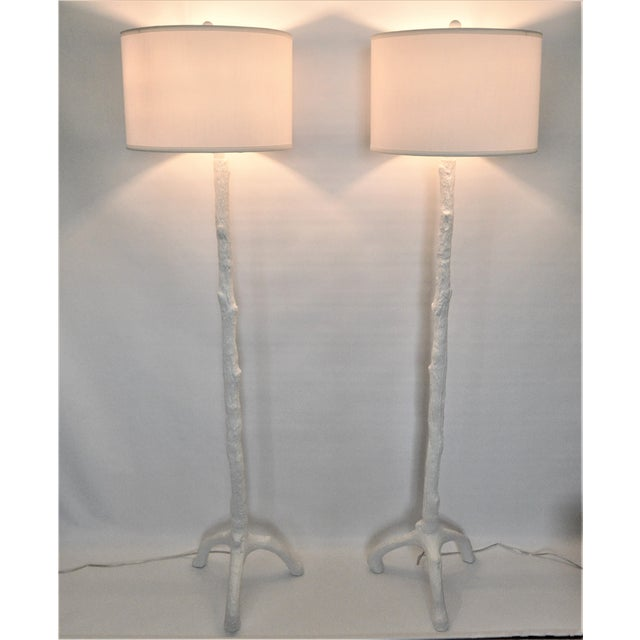 White Faux Bois Floor Lamps Inspired by Serge Roche - a Pair - Image 2 of 11