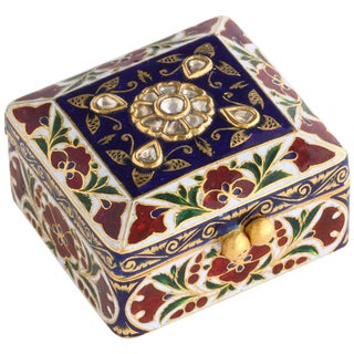 22-Karat Jaipur Indian Gold Enamel and Diamonds Pill Snuff Box For Sale