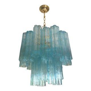"""Contemporary Murano Glass """"Tronchi"""" Chandelier With Gold Metal Frame For Sale"""