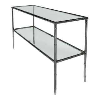 70s Faux-Bamboo Chrome 2-Tier Console Table W/ Glass Shelves For Sale