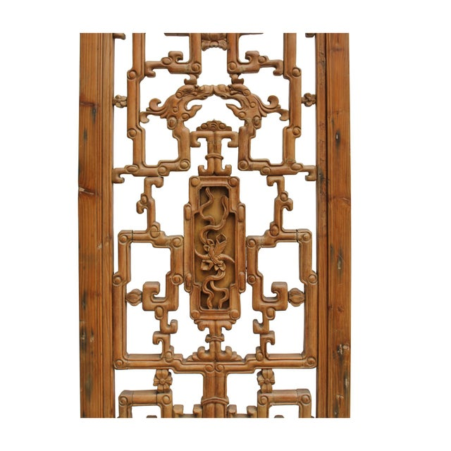 Lights Chinese Vintage Light Brown Relief Motif Wood Wall Hanging Art For Sale - Image 7 of 9