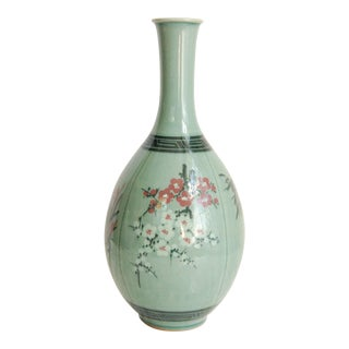 20th Century Asian Celadon Vase with Cherry Blossom Detail For Sale
