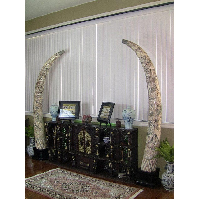 Mid 20th Century 20th Century Chinese Profusely Handcarved Faux Elephant Tusks - a Pair For Sale - Image 5 of 12