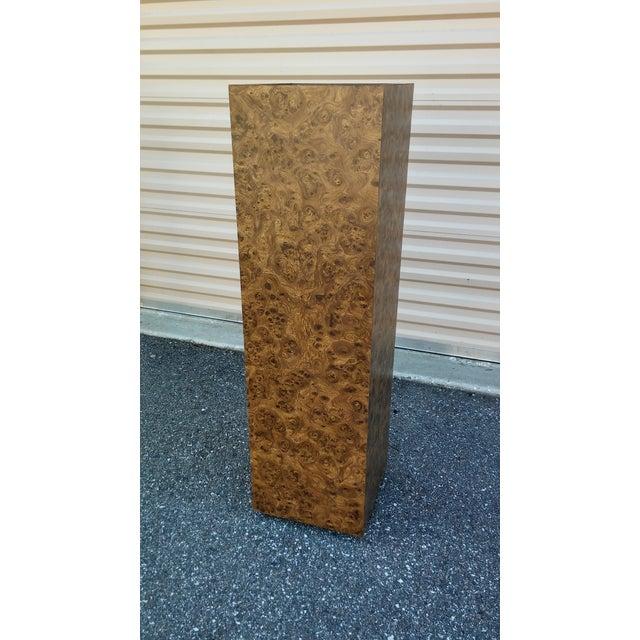 Vintage Milo Baughman Style Illuminated Burl Wood Pedestal - Image 4 of 7
