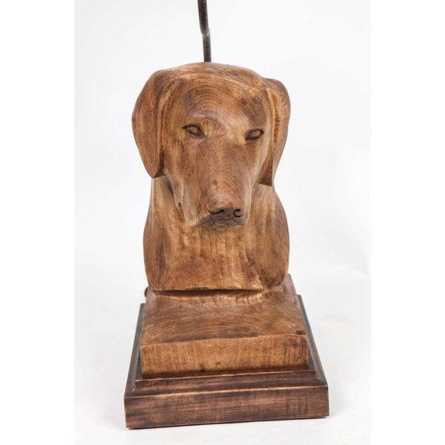 American JW Custom Line Carved Dog Lamp For Sale - Image 3 of 7
