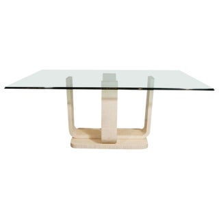 Mid-Century Modern Tessellated Stone and Glass Dining Table by Maitland-Smith For Sale