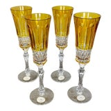 Image of Faberge Design Yellow Hand Cut Crystal Champagne Glasses - Set of 4 For Sale