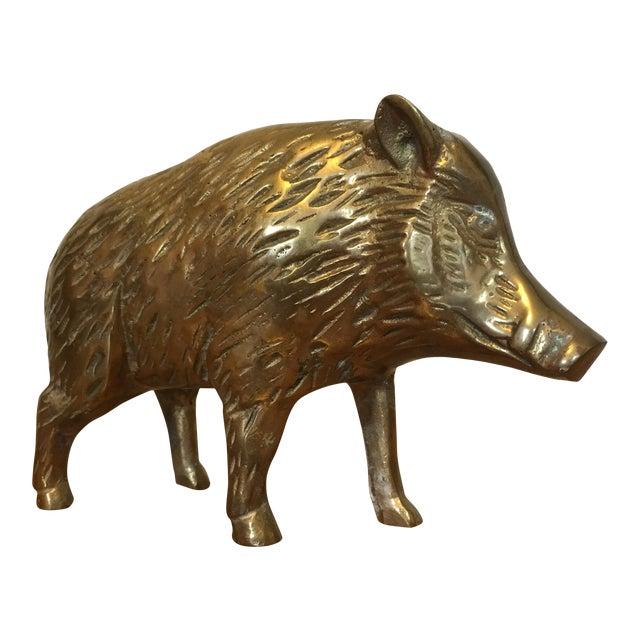 Mid-Century Brass Boar For Sale