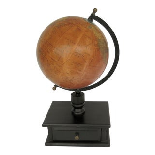Vintage World Globe on Stand with Drawer For Sale