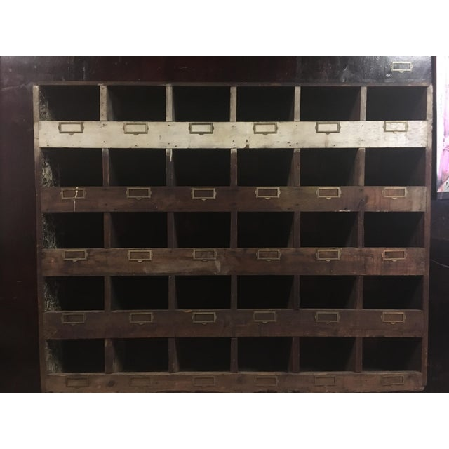 Old Hardware Cubby Mail Sorter Display Cabinet - Image 3 of 5