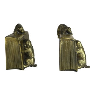 Pair of Brass Doggie Bookends