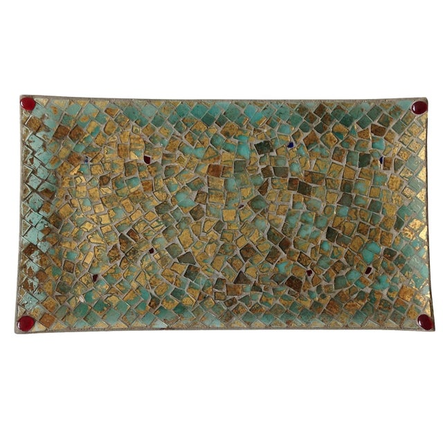Gold Foil Glass Mosaic Tray - Image 1 of 11