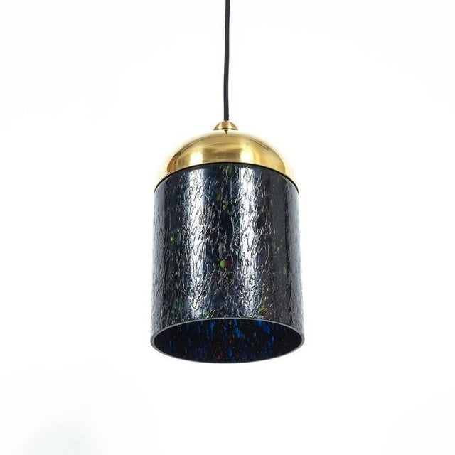 Italian Pair Murano Glass and Brass pendants, circa 1970 For Sale - Image 3 of 8