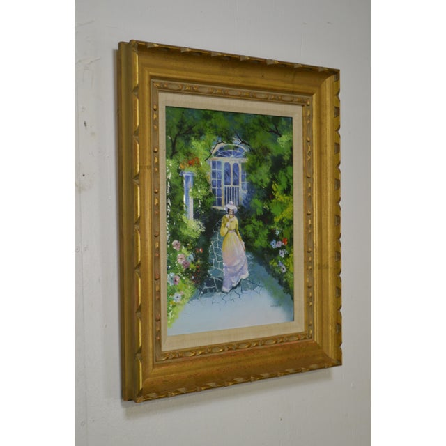 Metal Parthesius Enamel on Copper Southern Belle Framed Painting For Sale - Image 7 of 11