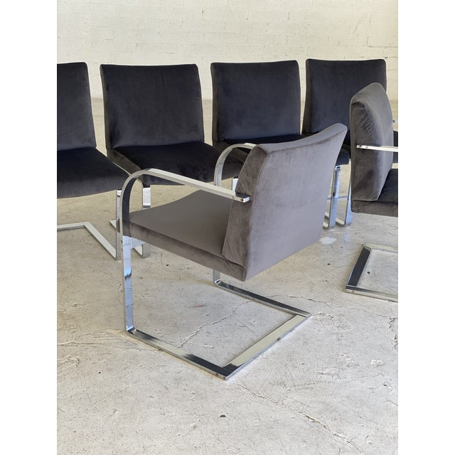 Charcoal Mid-Century Modern Charcoal Velvet and Chrome Cantilever Chairs - Set of 6 For Sale - Image 8 of 9