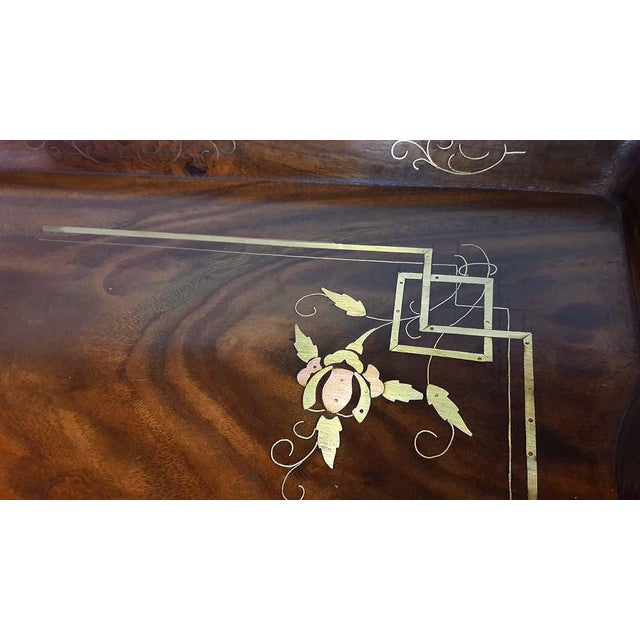Antique Brass & Copper Inlay Wood Butler Table / Serving Tray - Image 6 of 6