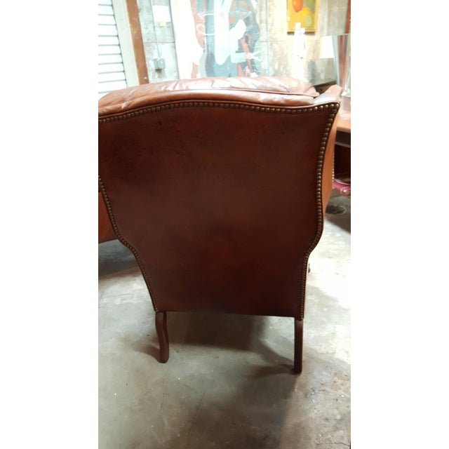 Schafer Brothers Leather Wing Chairs - Pair For Sale - Image 7 of 10