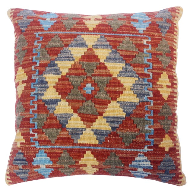"Clare Rust/Lt. Blue Hand-Woven Kilim Throw Pillow(18""x18"") For Sale"