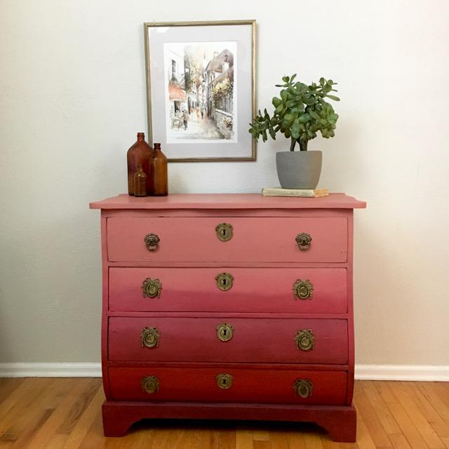 1910s Modern Red Ombre 4 Drawer Chest For Sale - Image 5 of 7