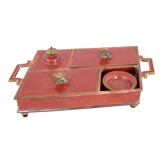 Antique Chinese Red Cloisonné Enamel Opium Smoking Set Box With Accoutrements For Sale