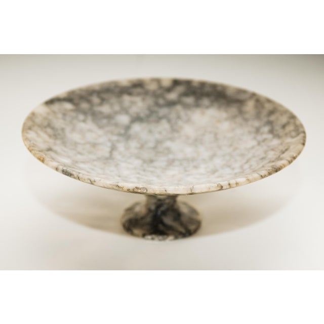 A beautiful vintage Italian alabaster tazza or compote/footed bowl. Lovely gray and cream veining with a few minor marks...