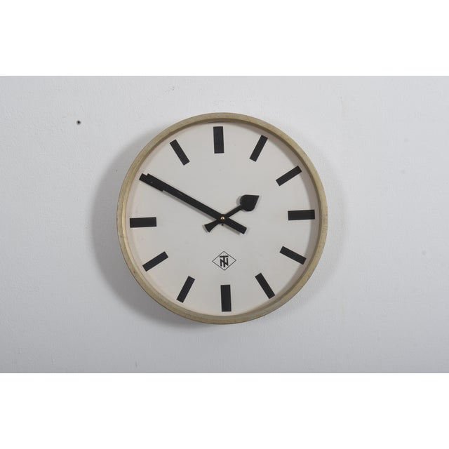 Metal Large Industrial Factory or Stration Clock by Telefonbau Und Normalzeit For Sale - Image 7 of 7