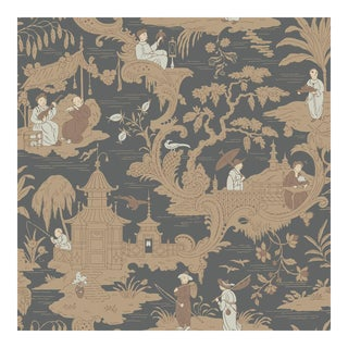 Chinese Toile Charcoal Cole & Sons Wallpaper For Sale