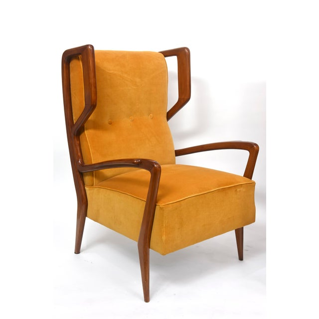 Orange Rare Pair of Italian Modern Walnut Armchairs, Orlando Orlandi For Sale - Image 8 of 11