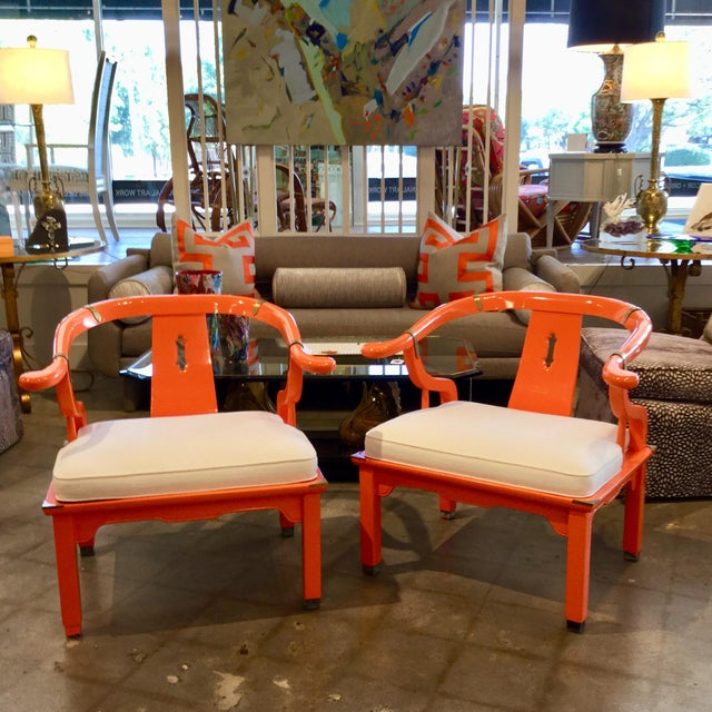 Paint Mid 20th Century Orange Lacquer Ming Chairs - a Pair For Sale - Image 7 of 7