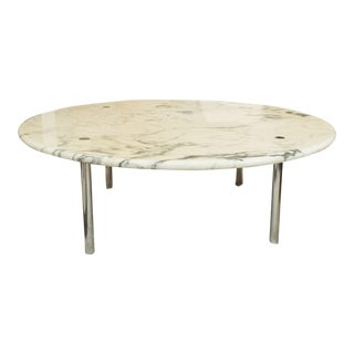 Carrara Marble in Chrome Round Coffee Table, Erwine & Estelle Laverne 1954 For Sale