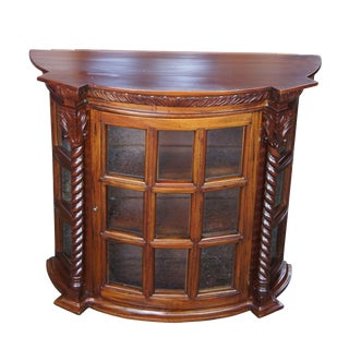 Mahogany Wall Hanging Shelf Display Cabinet For Sale
