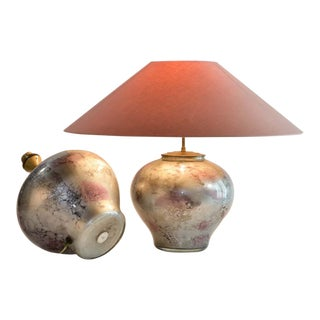 Exclusive Pair of French Handmade Lilac Silver Crystal Glass Table Lamps by Laque Line, 1970s For Sale