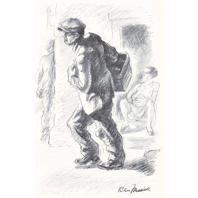 1930s Ben Messick Lithograph of Street Vendor For Sale In Atlanta - Image 6 of 6