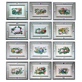 China Trade Set of Twelve Botanical Flower Pith Paper Paintings, Decoupage Frames, Circa 1840.
