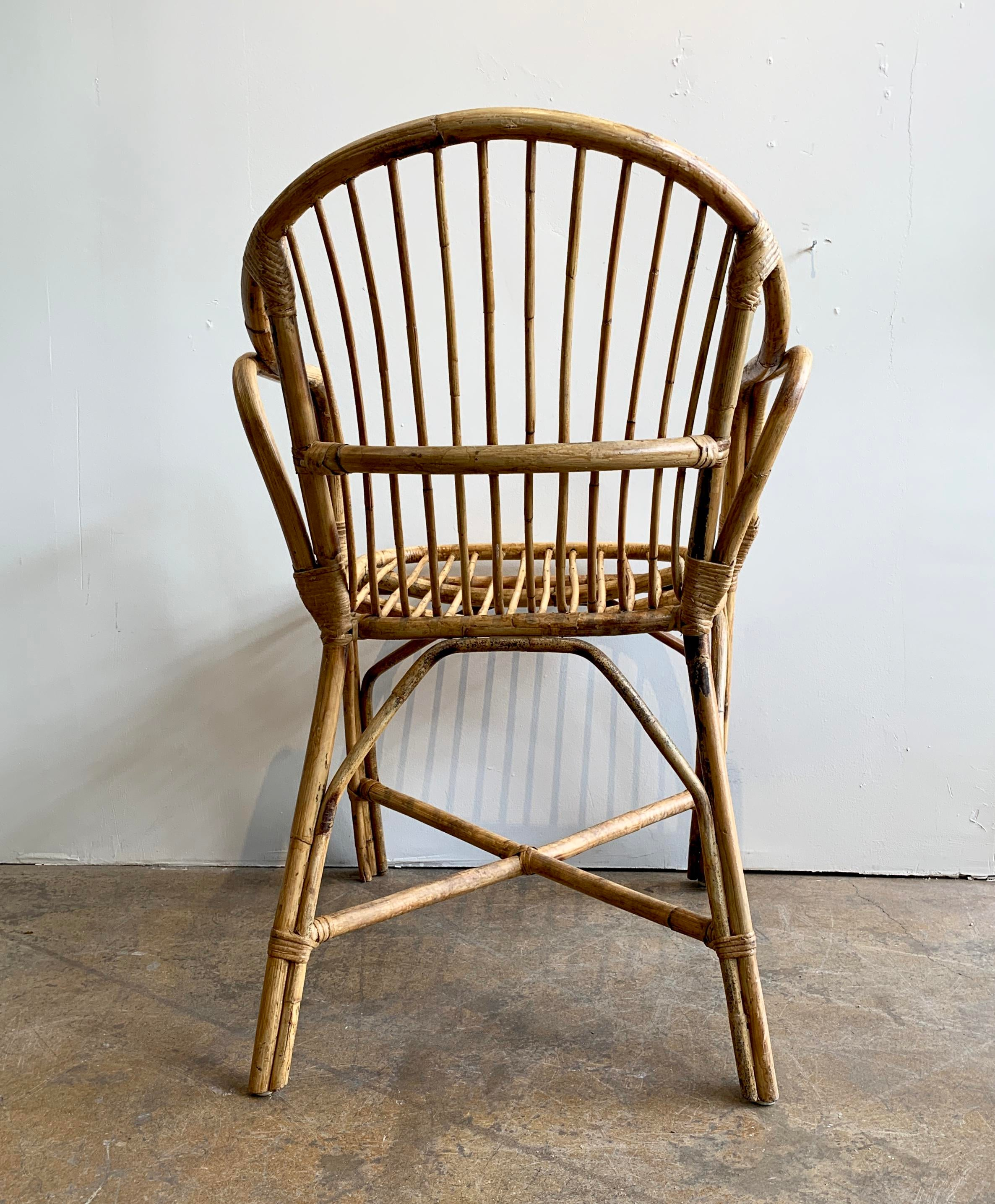 Merveilleux Franco Albini Vintage Rattan Chair For Sale   Image 4 Of 6