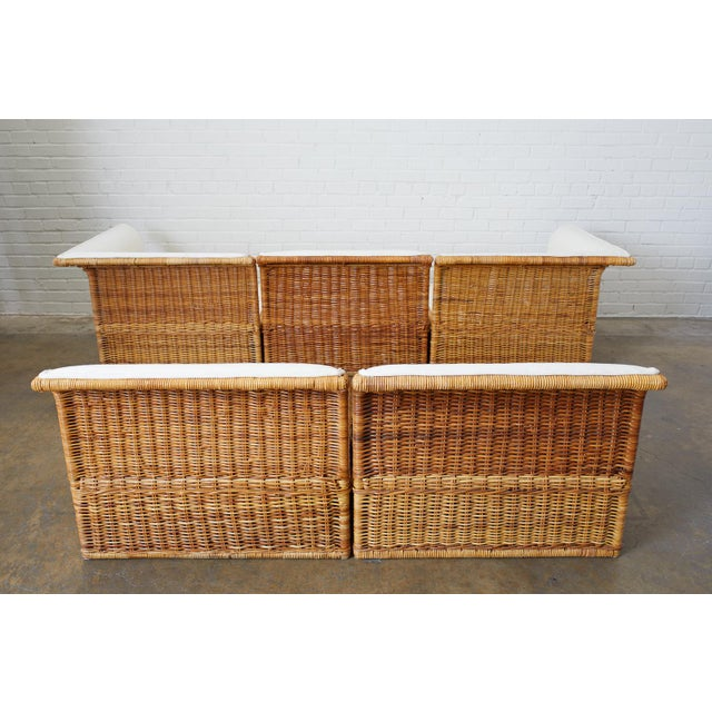 Michael Taylor Style Rattan Wicker Sectional Sofa For Sale - Image 12 of 13